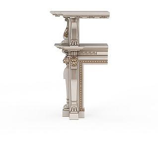 米色雕花柱子3d模型