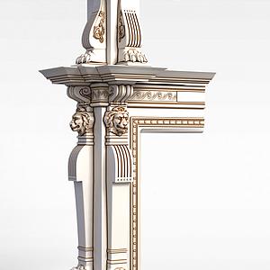 米色雕花柱子模型