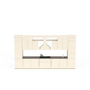 米色实木橱柜3d模型