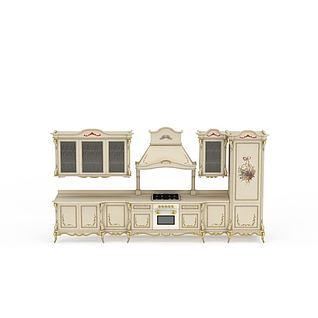 欧式描金橱柜3d模型