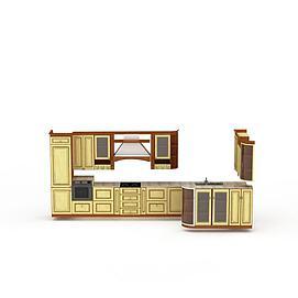 黄色橱柜组合模型