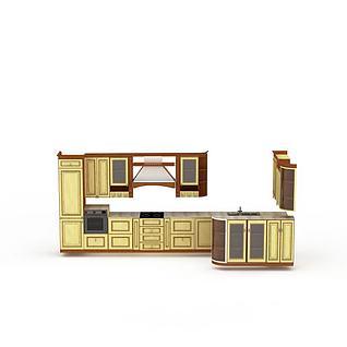 黄色橱柜组合3d模型