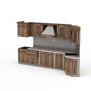 復古實木櫥柜模型