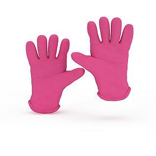 粉色胶皮手套3d模型