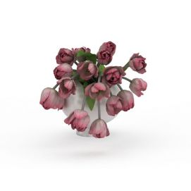 3d玫瑰花花瓶模型