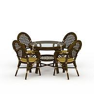 藤编茶几椅子3D模型3d模型
