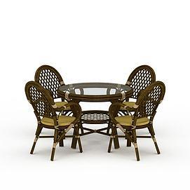 藤编茶几椅子3d模型