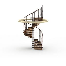 3d现代回旋楼梯模型