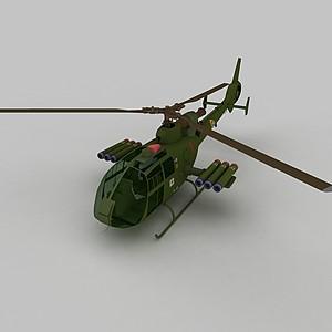 3dGAZELLE直升戰斗機模型
