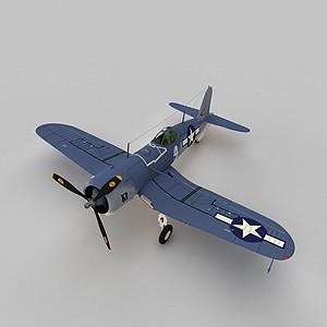 3d二戰單翼戰斗機模型