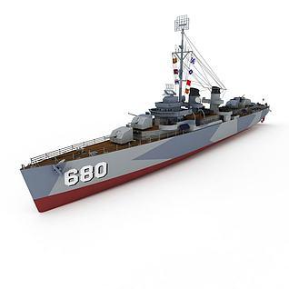 3dFLETCHER军舰模型