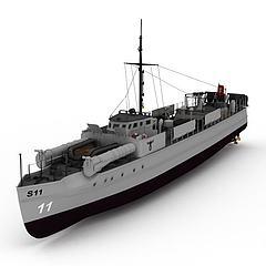 E-BOAT军舰模型3d模型