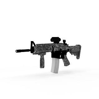 现代迷彩突击步枪3d模型