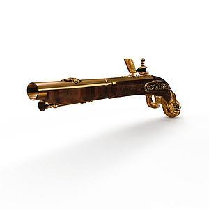 3d黄金手枪模型