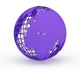 紫色<font class='myIsRed'>地球</font>仪3d模型