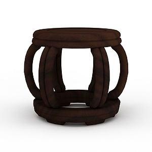 中式鼓凳模型3d模型