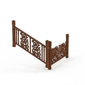 3d木质楼梯扶手模型