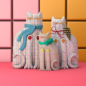 卡通貓裝飾品模型
