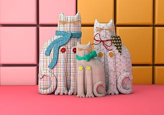 C4D卡通猫装饰品模型