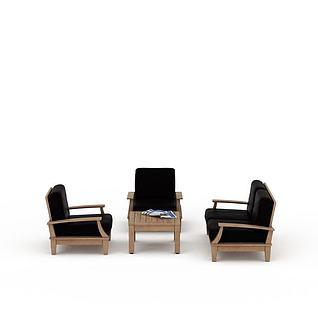 中式简约木质桌椅组合3d模型3d模型