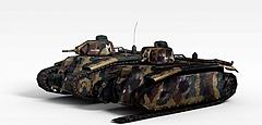 迷彩坦克模型3d模型