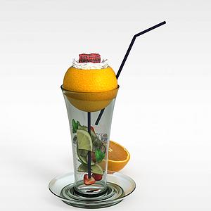 3d水果奶昔模型