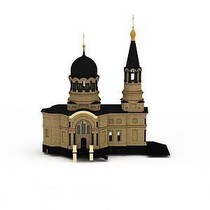 3d欧式教堂建筑模型