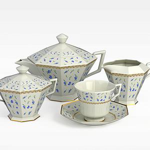 3d時尚六角形茶具模型