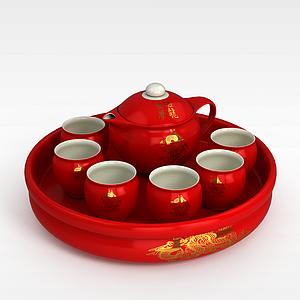 中式新年茶具模型