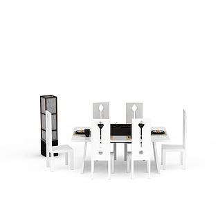 现代白色实木餐桌椅3d模型3d模型