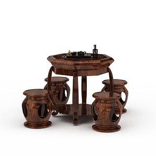 实木餐桌椅3d模型