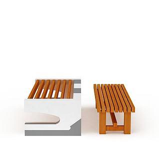 公园休息凳3d模型