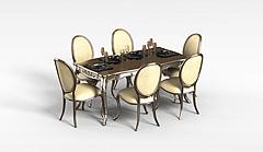 欧式桌椅模型3d模型