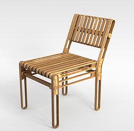 木质折叠椅子3d模型
