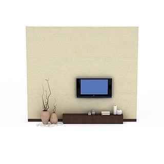 典雅背景墙3d模型
