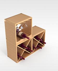 实木红酒酒架3d模型