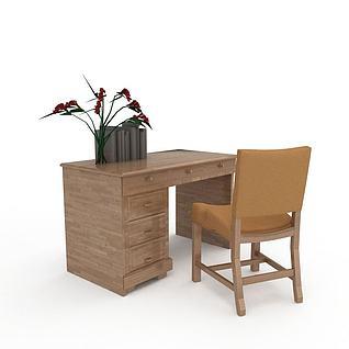 中式简约实木书房桌椅3d模型3d模型