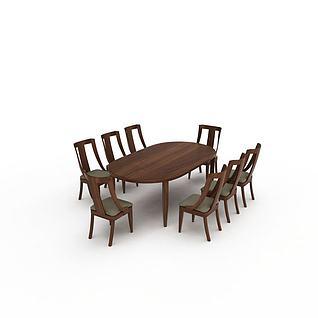 现代实木餐桌椅组合3d模型3d模型