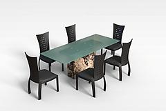 家用餐桌椅模型3d模型