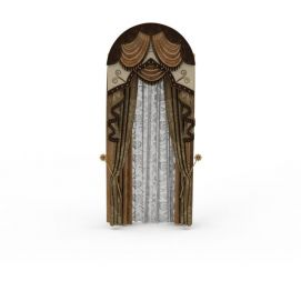 3d罗马杆窗帘模型