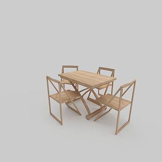 现代简约木质餐桌椅3d模型3d模型