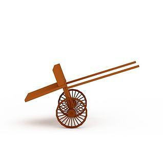 木制双轮推车3d模型