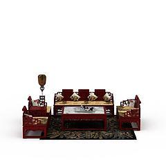 中式沙发茶几模型3d模型