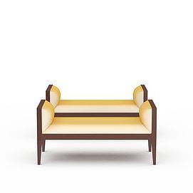 3d扶手长凳子模型