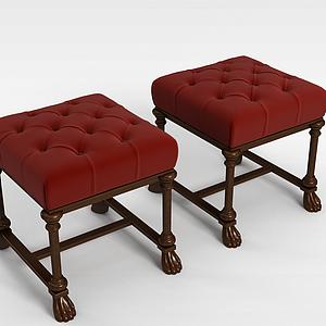 3d<font class='myIsRed'>美式沙发</font>凳模型