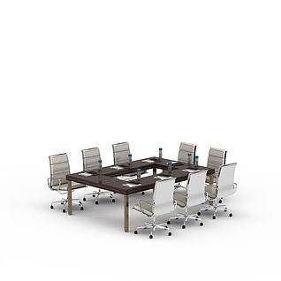 现代办公桌椅套装3d模型