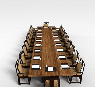会议室桌椅3d模型