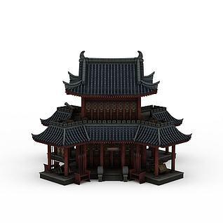 3d中式古典建筑模型