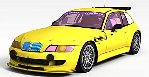 3d黄色宝马跑车模型