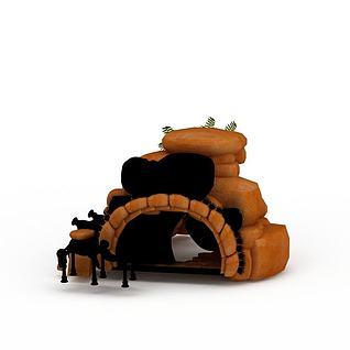 游戏石洞小屋3d模型